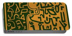 Portable Battery Charger featuring the digital art Black And Orange Klee by Vagabond Folk Art - Virginia Vivier