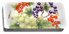 Black And Red Currants With Green Grapes Portable Battery Charger by Nell Hill