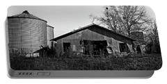 Black And White Abandoned Barn Portable Battery Charger