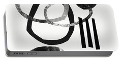 Black And White- Abstract Art Portable Battery Charger by Linda Woods