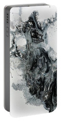 Black And White Abstract Painting  Portable Battery Charger