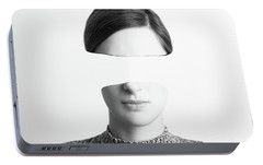 Black And White Abstract Woman Portrait Of Identity Theft Concept Portable Battery Charger by Radu Bercan