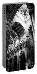 Black And White Almudena Cathedral Interior In Madrid Portable Battery Charger