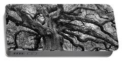Black And White Angel Oak Tree Portable Battery Charger