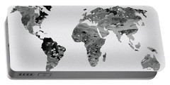 Black And White Art World Map Portable Battery Charger