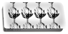 Black And White Artichokes- Art By Linda Woods Portable Battery Charger