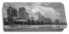 Black And White Austin Skyline On A Foggy Morning 1 Portable Battery Charger