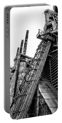 Black And White - Bethlehem Steel Mill Portable Battery Charger by Bill Cannon