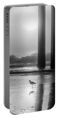 Portable Battery Charger featuring the photograph Black And White Bird Beach by John McGraw