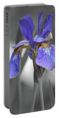 Portable Battery Charger featuring the photograph Black And White Blue Bearded Iris by Brenda Jacobs