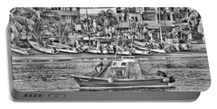 Portable Battery Charger featuring the photograph Black And White Boat by Jim Walls PhotoArtist