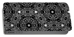 Black And White Boho Pattern 3- Art By Linda Woods Portable Battery Charger
