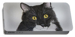Black And White Cat Portable Battery Charger by Megan Cohen