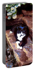 Black And White Cat Resting Regally Portable Battery Charger