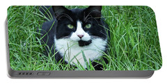 Black And White Cat With Green Eyes Portable Battery Charger