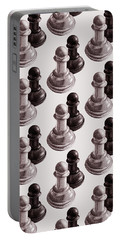 Black And White Chess Pawns Pattern Portable Battery Charger