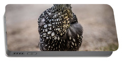 Black And White Chicken Portable Battery Charger by Paul Freidlund