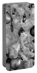 Portable Battery Charger featuring the photograph Black And White Christmas Tree Ornaments by Aimee L Maher Photography and Art Visit ALMGallerydotcom