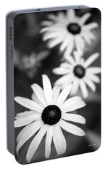 Portable Battery Charger featuring the photograph Black And White Daisies by Christina Rollo