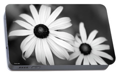 Portable Battery Charger featuring the photograph Black And White Daisy by Christina Rollo