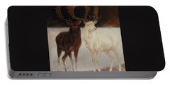 Black And White Fallow Deers Portable Battery Charger