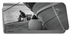 Black And White - Fisherman Cleaning Fish On Docks Of Kastel Gomilica, Split Croatia Portable Battery Charger