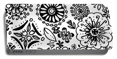 Black And White Floral Doodle Portable Battery Charger