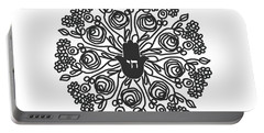 Portable Battery Charger featuring the mixed media Black And White Hamsa Mandala- Art By Linda Woods by Linda Woods