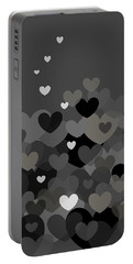 Black And White Heart Abstract Portable Battery Charger by Val Arie