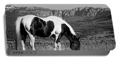Black And White Horse Grazing In Wyoming In Black And White  Portable Battery Charger
