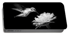 Portable Battery Charger featuring the photograph Black And White Hummingbird And Flower by Christina Rollo