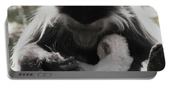 Black And White Image Of Colobus Monkeys Portable Battery Charger