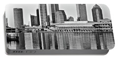 Black And White In The Heart Of Tampa Bay Portable Battery Charger by Frozen in Time Fine Art Photography