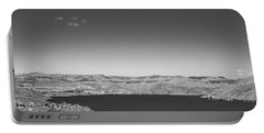 Black And White Landscape Photo Of Dry Glacia Ancian Rock Desert Portable Battery Charger