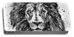 Black And White Lion Head  Portable Battery Charger