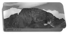 Portable Battery Charger featuring the photograph Black And White Longs Peak Detail by Dan Sproul