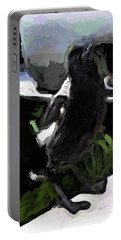 Black And White Magpie On The Porch Portable Battery Charger