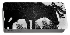 Black And White Moose Portable Battery Charger