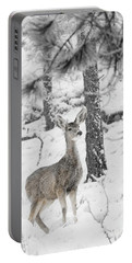 Black And White Mule Deer In Heavy Snowfall Portable Battery Charger