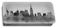 Portable Battery Charger featuring the digital art Black And White New York Skylines Splashes And Reflections by Georgeta Blanaru