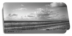 Black And White Ocean Scene Portable Battery Charger