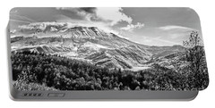 Black And White Of Coldwater Lake And Mt. St. Helens Portable Battery Charger