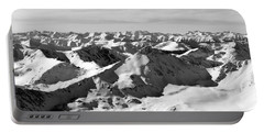 Black And White Of The Summit Of Mount Elbert Colorado In Winter Portable Battery Charger