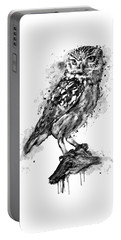 Portable Battery Charger featuring the mixed media Black And White Owl by Marian Voicu