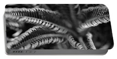 Black And White Palm Abstract 3624 Bw_2 Portable Battery Charger