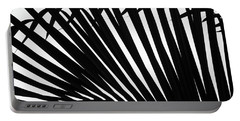 Black And White Palm Branch Portable Battery Charger