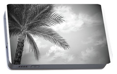 Portable Battery Charger featuring the digital art Black And White Palm by Darren Cannell