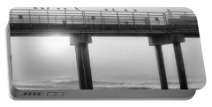 Portable Battery Charger featuring the photograph Black And White Pier Alabama  by John McGraw