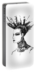 Portable Battery Charger featuring the digital art Black And White Punk Rock Girl by Marian Voicu
