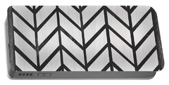 Portable Battery Charger featuring the painting Black And White Quilt by Debbie DeWitt